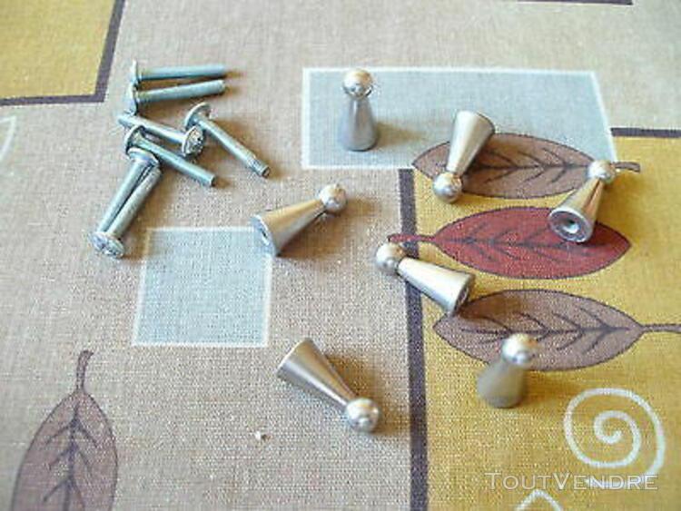 vintage 70's unique lot de 7 boutons de tiroirs cône en mé