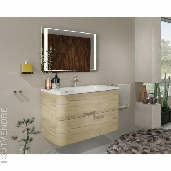 Meuble de salle de bain suspendu 100 cm apollo roble doré