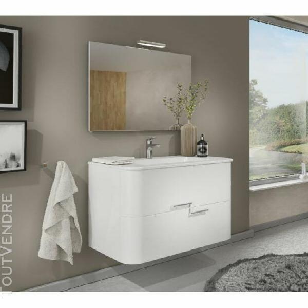 Meuble de salle de bain suspendu 80 cm apollo blanc brillant