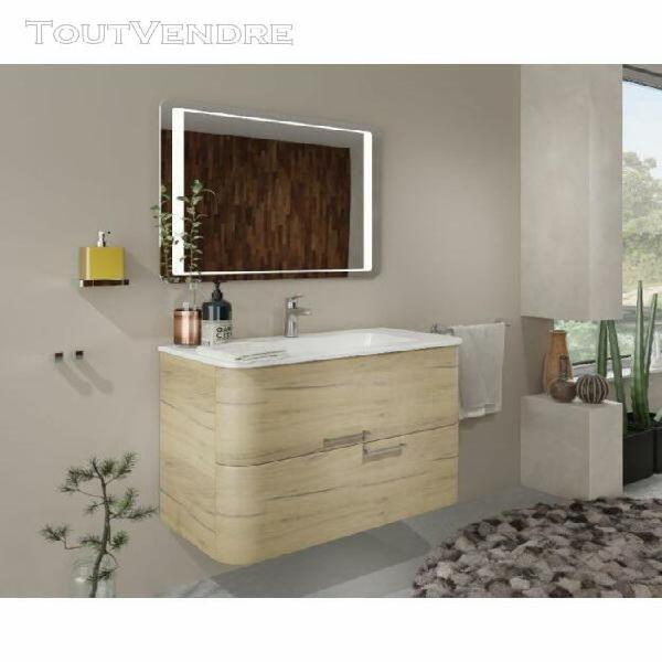 meuble de salle de bain suspendu 80 cm apollo roble doré