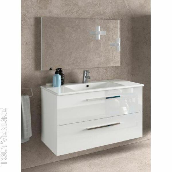 Meuble de salle de bain suspendu 80 cm laquée blanc