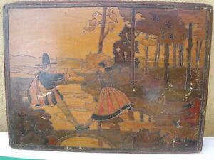 Ancienne porte de petit meuble peint