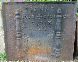 Grande plaque de cheminée ancienne 1723 fonte feu chauffage