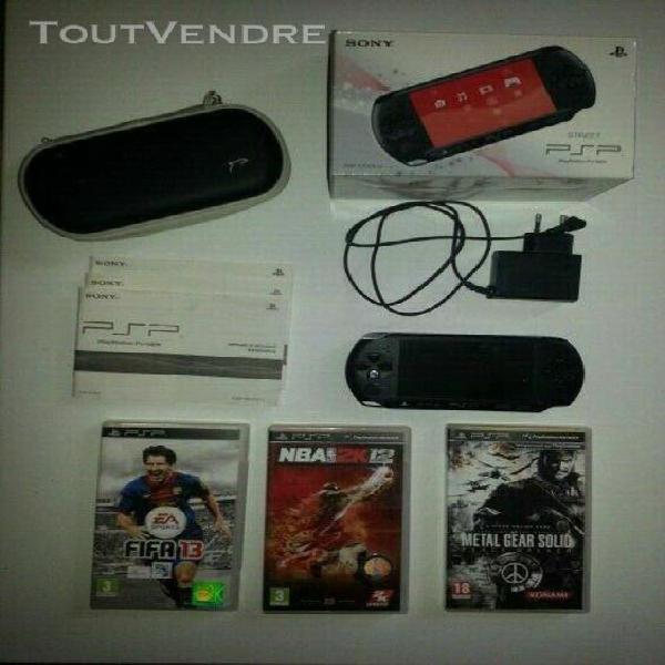 console sony psp street e-1004 boite + 3 jeux