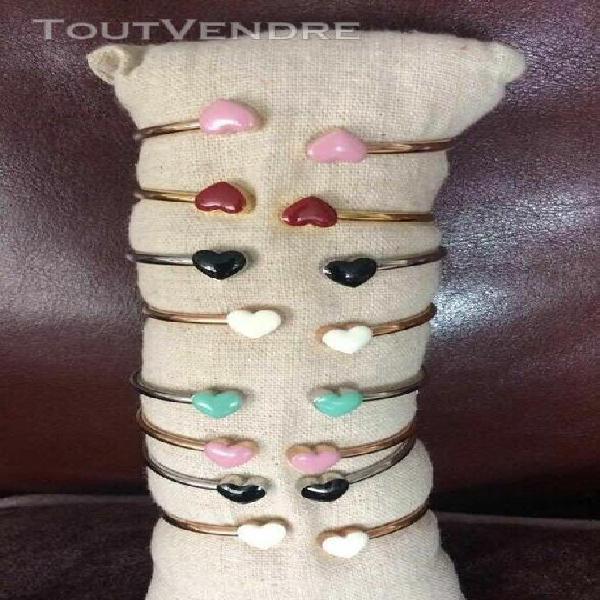 Lot de 8 bracelets petit coeur acier inoxydable -