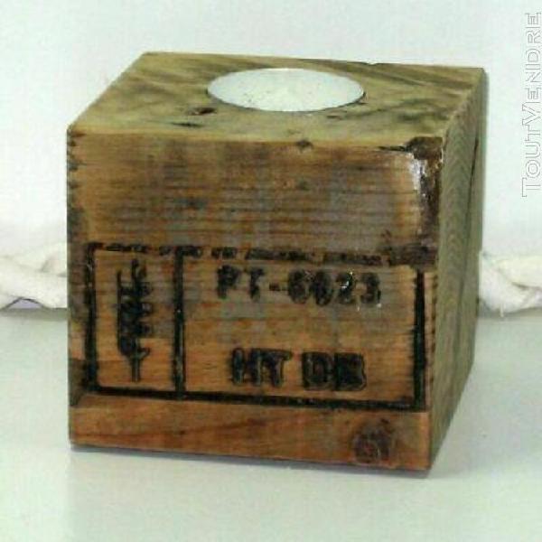 Bougeoir cube de palette 9x8,5x7,5cm (artisanat)