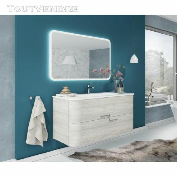 Meuble de salle de bain suspendu 100 cm apollo en bois nordi