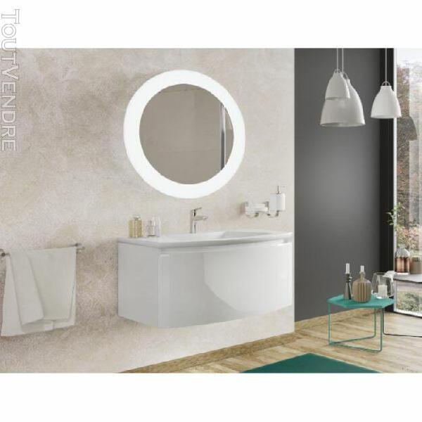 Meuble de salle de bain suspendu 100 cm venere blanc brillan