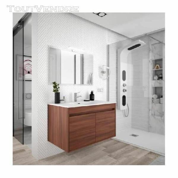 Meuble de salle de bain suspendu 600 mm blanc laque avec lav