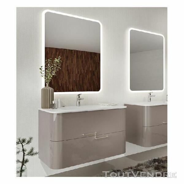 Meuble de salle de bain suspendu 80 cm apollo en bois cappuc