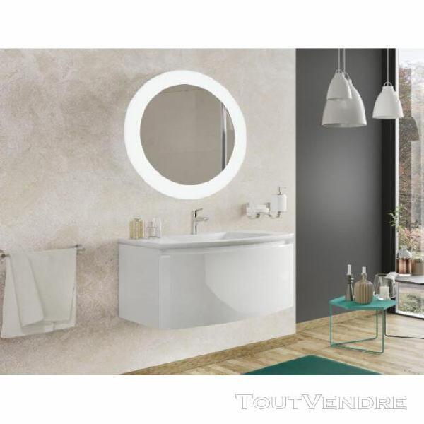 Meuble de salle de bain suspendu 80 cm venere blanc brillant