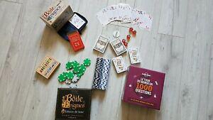 Gros lot de jeux: cartes, jeton, énigmes, dés...