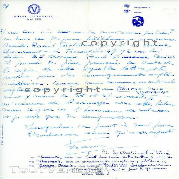 Henri salvador rare lettre manuscrite gênes 1955 (maladie d