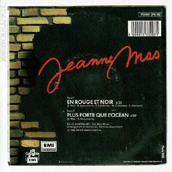 """Jeanne mas vinyle 45t 7"""" en rouge et noir - plus forte que l"""