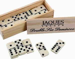 1 coffret en bois jaques london double six dominoes neuf
