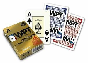 1 paquet 55 cartes de poker wpt 100% plastic gold edition