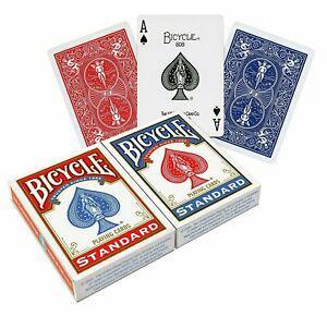 2 paquets de cartes de jeu bicycle standard bleu et rouge