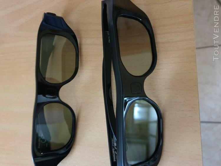 2 paires lunette 3d active philips pta507 +2 cables usb pour