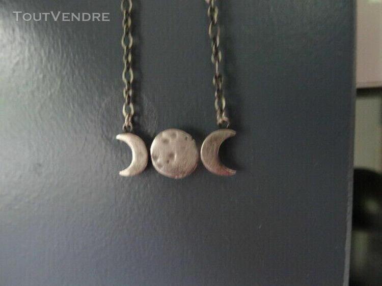 Bijoux chaine, lune et quartier de lune, argent, neuf, s