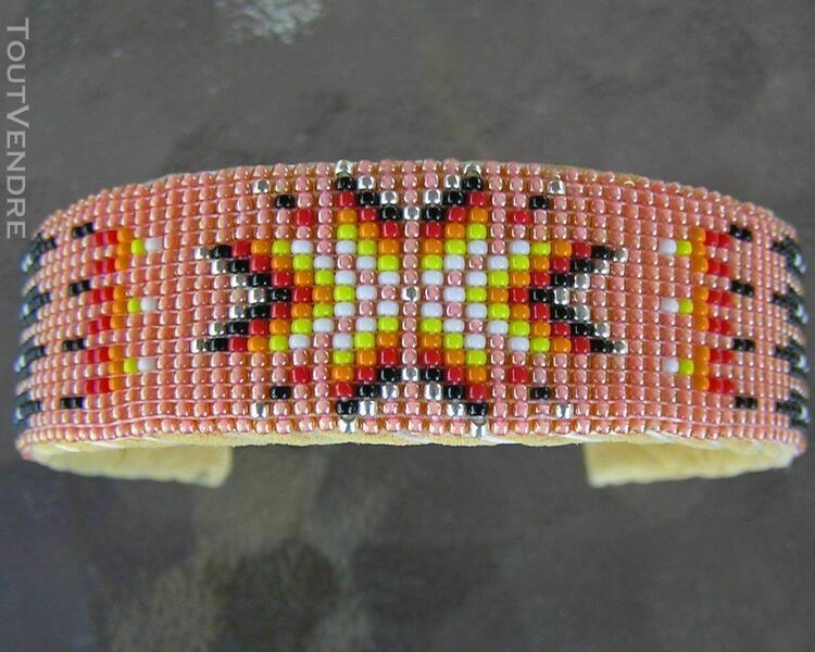 Bracelet amérindien authentique, fait main, ajustable, sur