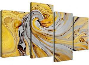 Grande toile abstraite en 4 parties - spirale grise et jaune