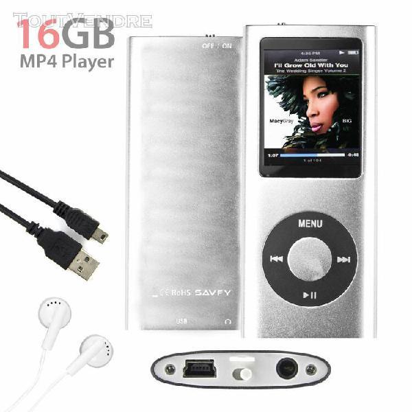 Lecteur mp3 mp4 player 16go (argent) vidéo radio fm musique