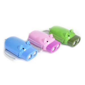 Hand pressing power 2 led pig flash light flashlight wind-up