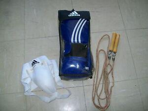 Lot gants de boxe adidas + coquille protection & corde a