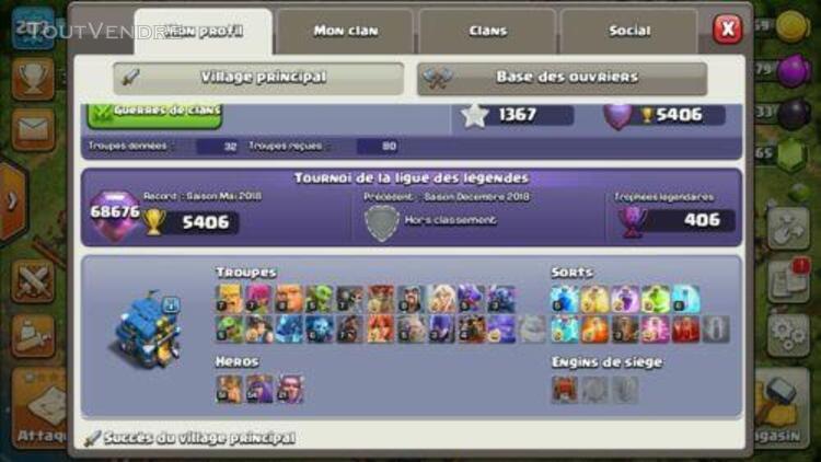 Clash of clans hdv 12 lvl 203 avec les héros: 51/ 54 / 21