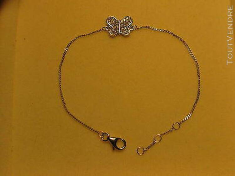 bracelet papillon en argent massif 925 rodie or blanc