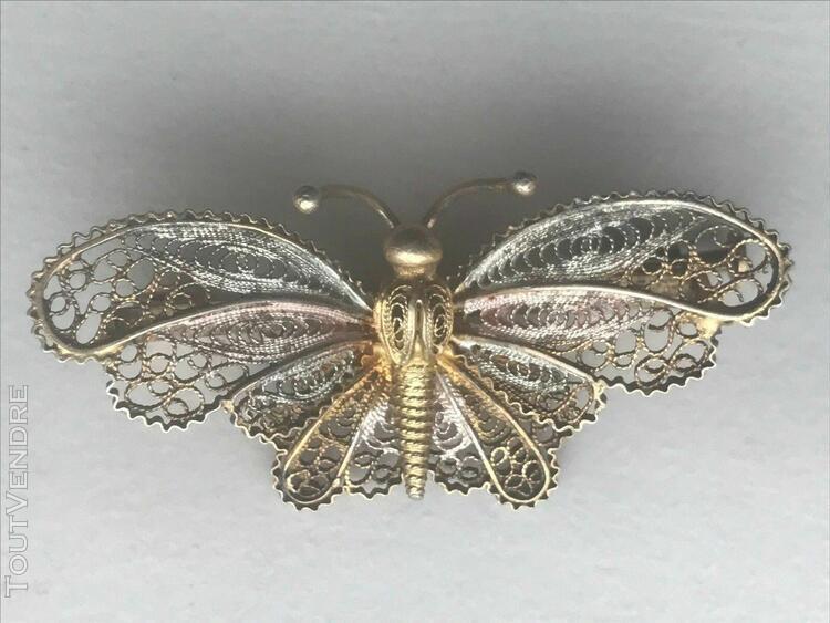 broche papillon filigrane argent massif vermeil coloré