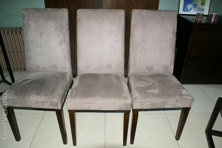 "3 chaises velours type alcantara taupe ""neuves """