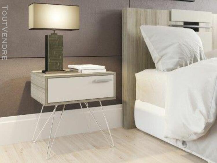 Chevet annie - 1 tiroir - style seventies - chêne et ivoire