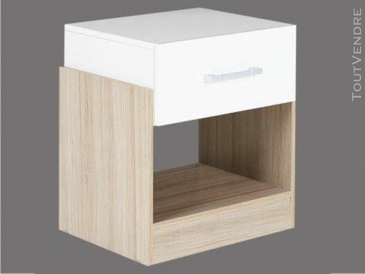 Chevet bodil - 1 tiroir - chêne et ivoire