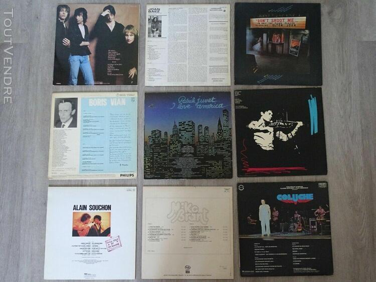 Lot de 9 disques vinyles 33t tours - juvet - brant - souchon