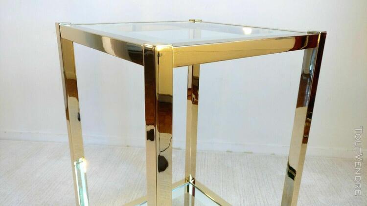 Sublime table d'appoint lancel des 90's en laiton doré,