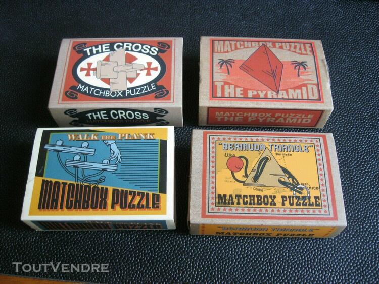 4 matchbox puzzle casse tete the cross pyramid walk the plan