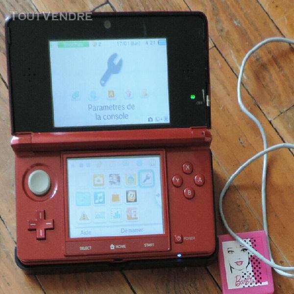 Console portable nintendo 3ds rouge métal 2 jeux socle de