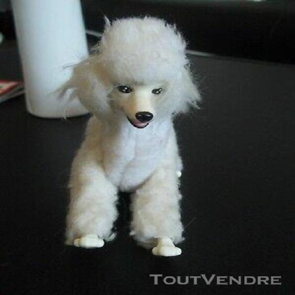 Grand chien mylord caniche blanc de barbie - jouet vintage