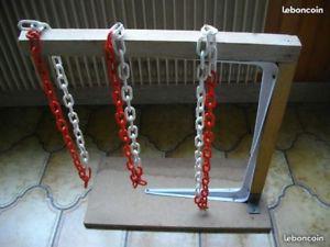 potence costaud tbe avec chaines plastifiées support bois