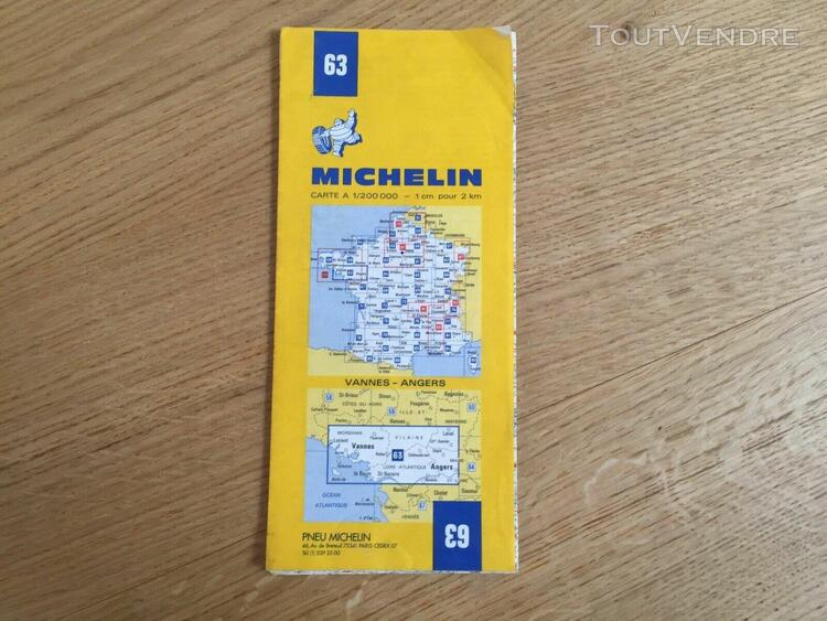 Affaire: carte michelin 63 - vannes angers 1980 collector !