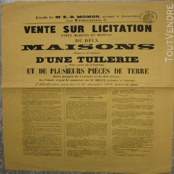 Affiche yonne cravant 1875 vente maison tuilerie