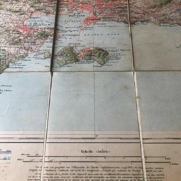 Carte ancienne 1909 toulon entoilée service geographique de