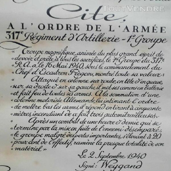 Citation croix de guerre 1940 artillerie 317 ra eisernes kre