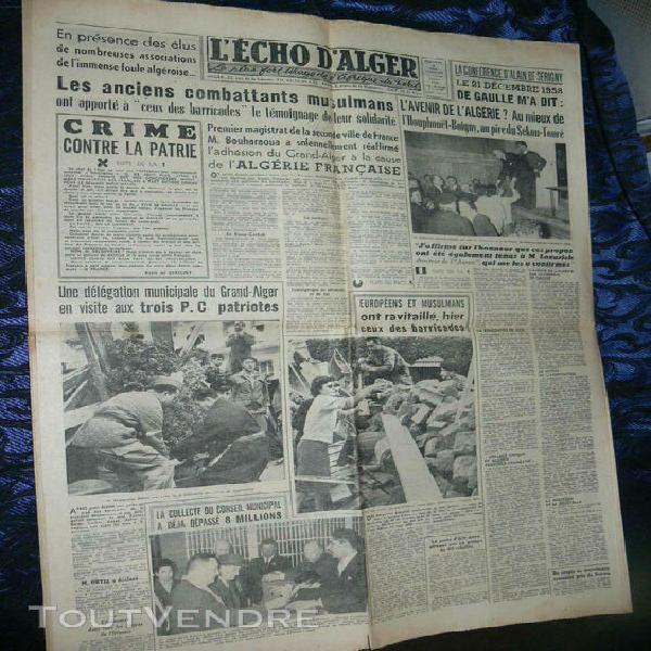 Guerre algerie / l echo d alger / 29 janv 1958 / manif frate