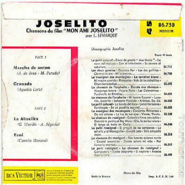 """Mon ami joselito. granada. bof ost. rare french ep 7"""" 45 19"""