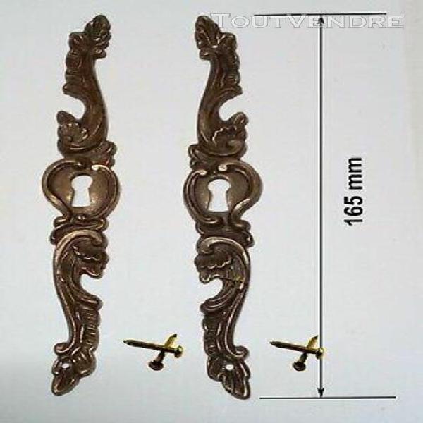 2 entrées de serrure en bronze objet ancien cache serrureri
