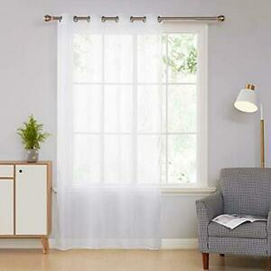 Deconovo rideau voilage blanc uni à oeillets pour salon