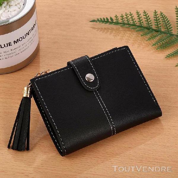 Femmes simple court wallet tassel porte-monnaie carte de sac