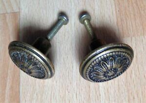 Lot de 2 boutons poignees de tiroir porte en laiton diametre